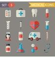 Retro Flat Medical Icons and Symbols Set vector image