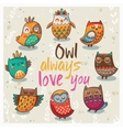 with cute owls vector image