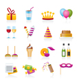 Birthday and party icons vector image