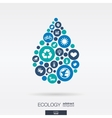 flat icons in a water drop shape ecology earth vector image