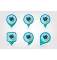 Rubber garden gloves flat pin map icon vector image