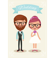 Bride and groom hipsters vector image
