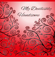 red greeting card template with floral ornament vector image