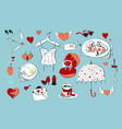 set of cute icons for valentine s day isolated on vector image