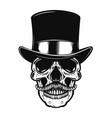 skull in vintage hat design element for poster vector image