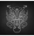 Graphic man surrounded by fantasy creatures vector image