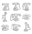 Old retro phones pencil sketch icons vector image vector image