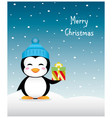 Nice Christmas penguin with gift and winter hat vector image vector image