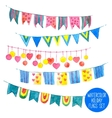 Watercolor Holiday Garlands Set vector image