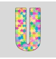 Color Piece Puzzle Jigsaw Letter - U vector image