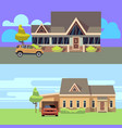 horizontal banners set with houses with vector image