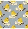 Seamless pattern with chickens in the egg shell vector image