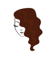 women face with wavy hair vector image