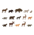 Animals set of colored icons isolated on white vector image