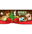 christmas card with farm animal in cowshed banner vector image