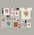 corporate flat mock-up template foxy tree design vector image