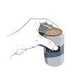 Hand holding beer can vector image