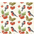 Seamless autumn pattern with bullfinch and rowan vector image vector image