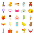 cakes icons set cartoon style vector image