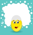 Easter card with egg character vector image vector image