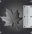 metal shield maple leaf vector image