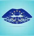 european union flag lipstick on the lips isolated vector image