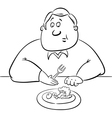 Sad man on diet drawing vector image