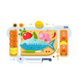 sea food fish product vector image