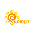 summer lettering with sun vector image