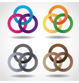 3D multicolored embracing metal ring shapes vector image vector image