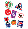 Europe sticker and stamp collection vector image