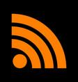 rss sign  orange icon on black vector image