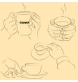 Hands with cups vector image vector image