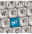 computer keyboard with 24 7 key vector image vector image