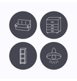Sofa ceiling lamp and shelving icons vector image