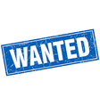 wanted blue square grunge stamp on white vector image