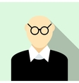 Bald man with glasses icon flat style vector image