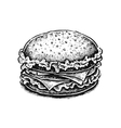 Black and white hand drawn fried sandwich vector image