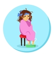 cartoon woman in blanket feeling ill with vector image