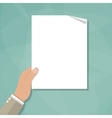 hand holding empty blank paper vector image
