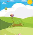 Happy cat with colorful balloon on sunny day vector image