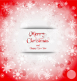 Holiday greeting with snowflake red background vector image