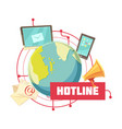 hotline retro cartoon design vector image