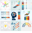 Infographics 9 templates five positions vector image