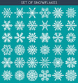 Set 36 white different snowflakes of handmade for vector image