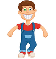 happy little boy cartoon jumping vector image vector image