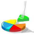 Section of diagram stuck on a fork vector image vector image