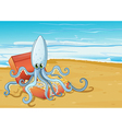 A beach with an octopus inside the treasure box vector image vector image
