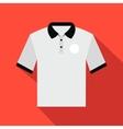 White men polo shirt flat icon vector image vector image