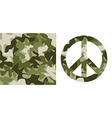 Camouflage pattern and Peace Symbol vector image